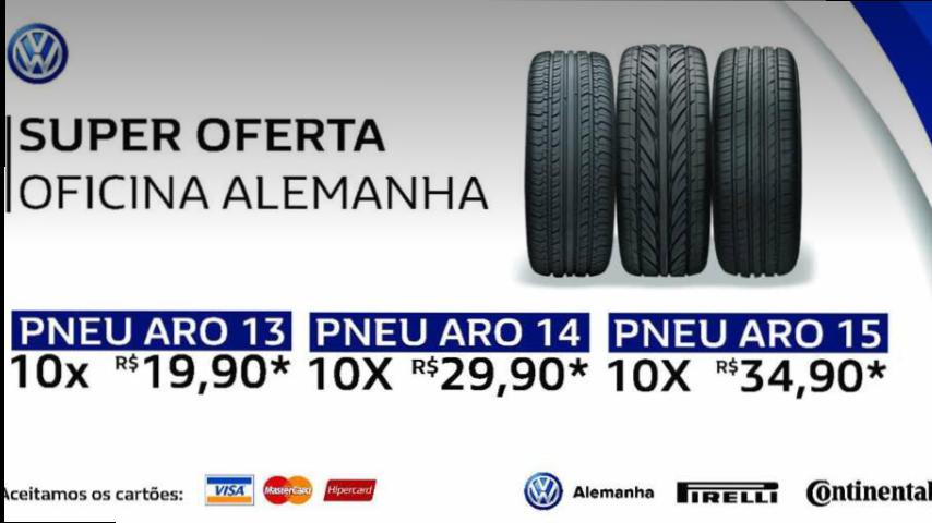 Confira as ofertas especiais da Alemanha Volkswagen para pneus de 13, 14 e 15 polegadas