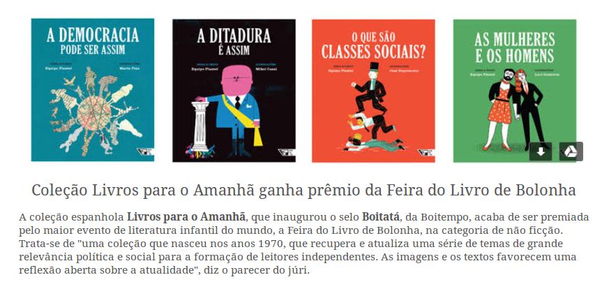Coleção Livros para o Amanhã ganha prêmio da Feira do Livro de Bolonha