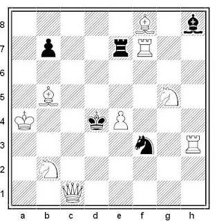 Problema de mate en 2 compuesto por Michael McDowell (1º Premio, The British Chess Magazine 1986)