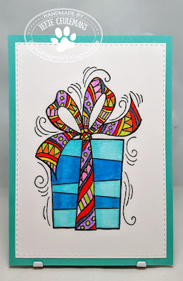 Handmade greeting card with Stampendous stamp