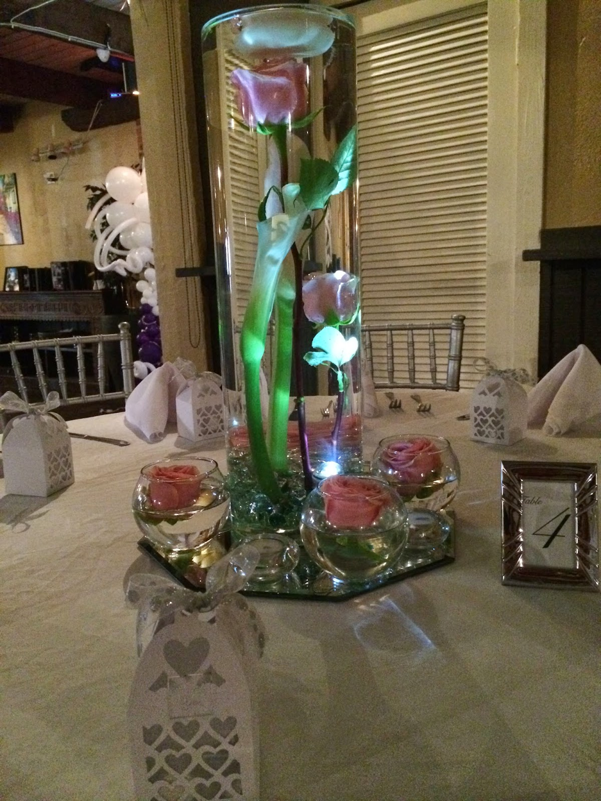 Wedding centerpiece with roses,LED light, mirror, candle