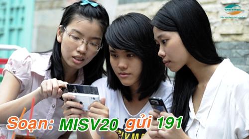 Nhận ưu đãi hấp dẫn khi đăng ký gói MISV20 mạng Viettel.