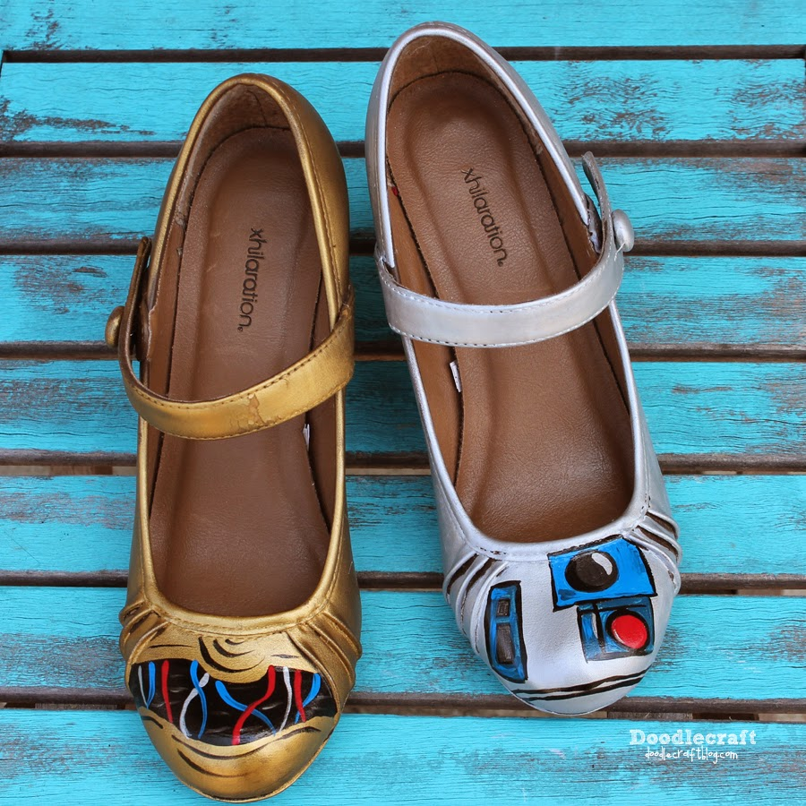 7347325b7a Doodlecraft  Star Wars C3PO and R2D2 Painted Shoes!