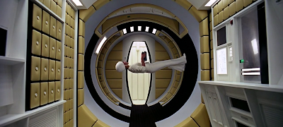 The circular walk upside down at the Earth Space Station under zero gravity, 2001: A space Odyssey (1968), directed by Stanley Kubrick