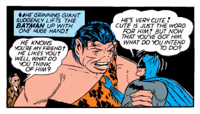 "Batman (1940) #2 Page 44 Panel 7: Batman gets up close and personal with Goliath, the friendly ""missing link."""