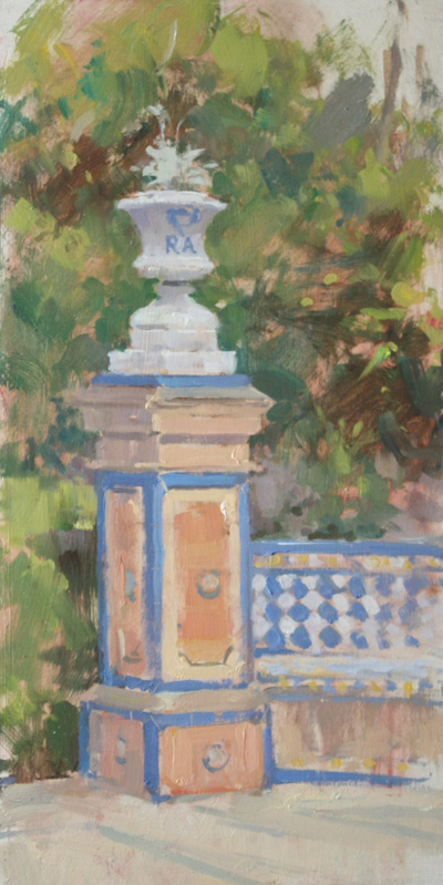 Urn Study, Royal Palace Of Alcazar' (8x16in, Oil On Board)