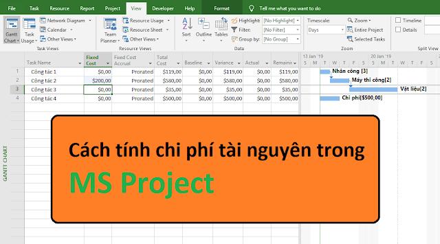Cách tính chi phí tài nguyên trong MS Project