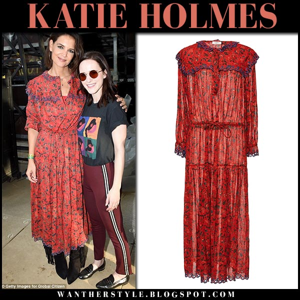 660e014ca8 Katie Holmes in red printed dress at Global Citizen Festival on September 29