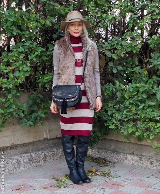 Stripes - Camel and Burgundy