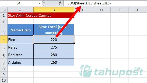 Rumus Excel Penjumlahan Antar Sheet