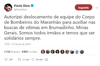 Tweet do governador Flávio Dino