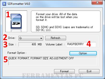SD Formatter - tela inicial