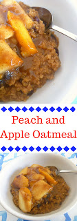 Peach and Apple Oatmeal: Sweet, cinnamon-y, warm notes of apple and peach pie rolled into one bowl of breakfast comfort! - Slice of Southern