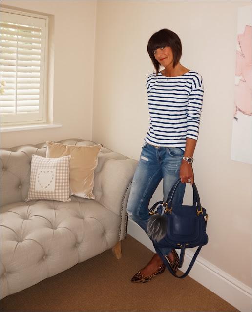 My Midlife Fashion, H&M breton, stripes, leopard print studded flat shoes, distressed denim, chloe marcel bag, leopard print belt