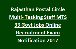 Rajasthan Postal Circle Multi- Tasking Staff MTS 33 Govt Jobs Online Recruitment Exam Notification 2017