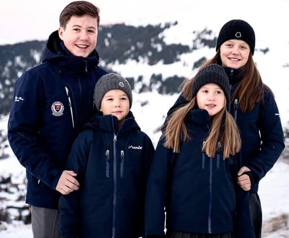 Prince Christian, Princess Isabella, Prince Vincent and Princess Josephine in Verbier
