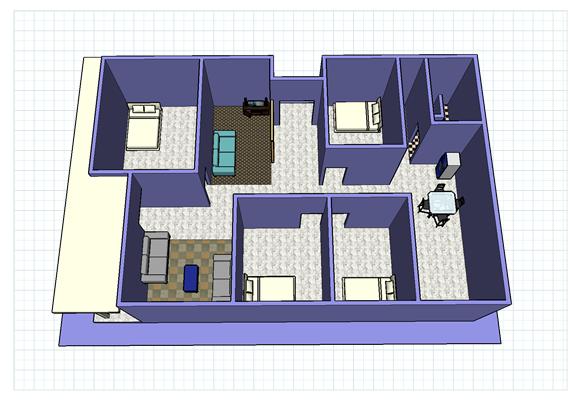 Gambar Denah rumah simple 1 lantai gaya klasik modern