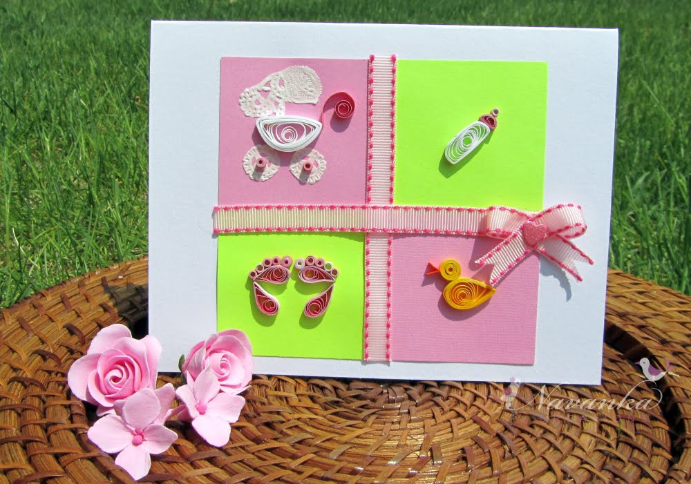 Navanka Creations Welcome Baby Girl Card with Paper Quilling