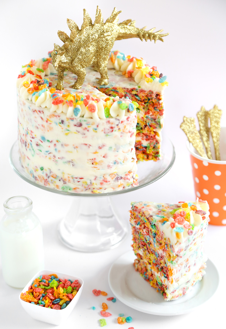 Fruity Pebbles Crispy Treat Cake Sprinkle Bakes
