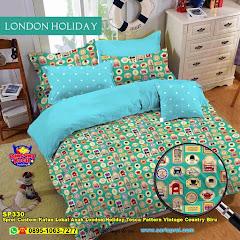 Sprei Custom Katun Lokal Anak London Holiday Tosca Pattern Vintage Country Biru