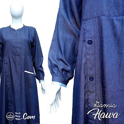 Gamis Muslimah Bahan Jeans Lembut Edisi Hawa