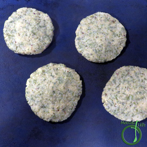 Morsels of Life - Falafel Step 3 - Form into patties, then bake at 350F for 15 minutes. Serve with Tahini Dip.