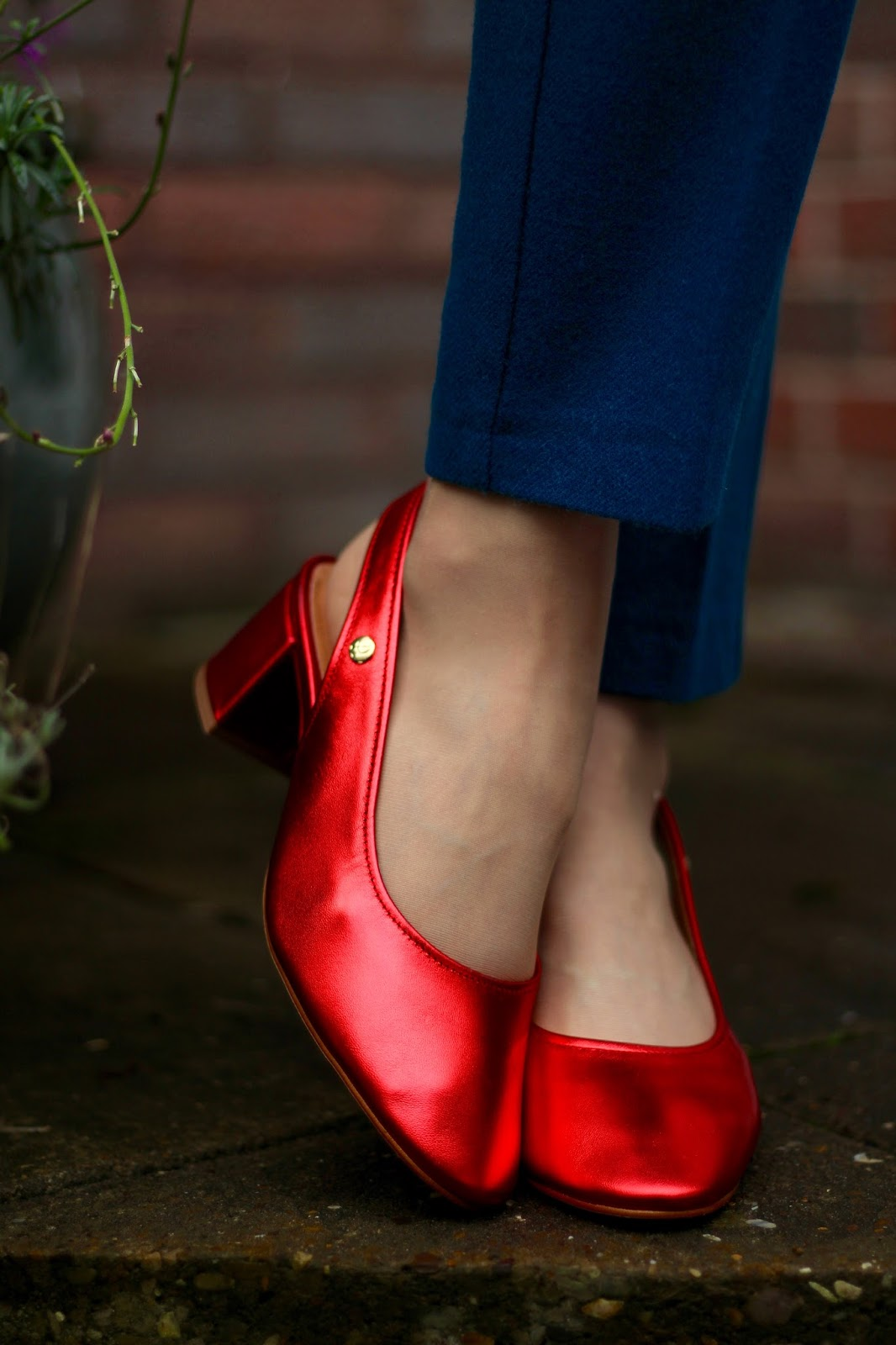 Metallic Red Slingback Nana Shoes & Teal Wool Trousers | Fake Fabulous