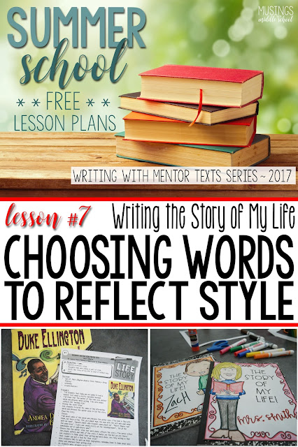 Lesson #7 of my Free Writing with Mentor Texts Summer Series. Choosing words that reflect your writing style.