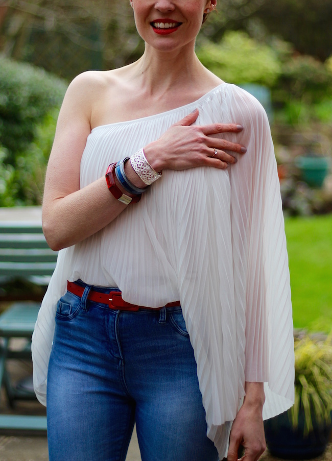 Fake Fabulous |Pleated asymmetric white top, skinny blue jeans and red french sole ballerinas