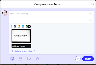 "Screenshot of what you see ""add description"" when you set up alt text in Twitter."