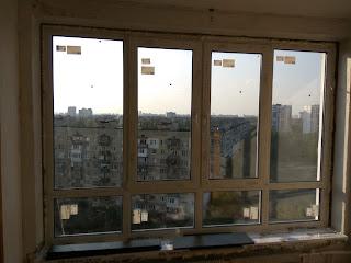 На изображении показано окно ПВХ Киев Русановка
