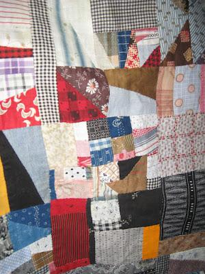 vintage scrappy improv-style quilt top