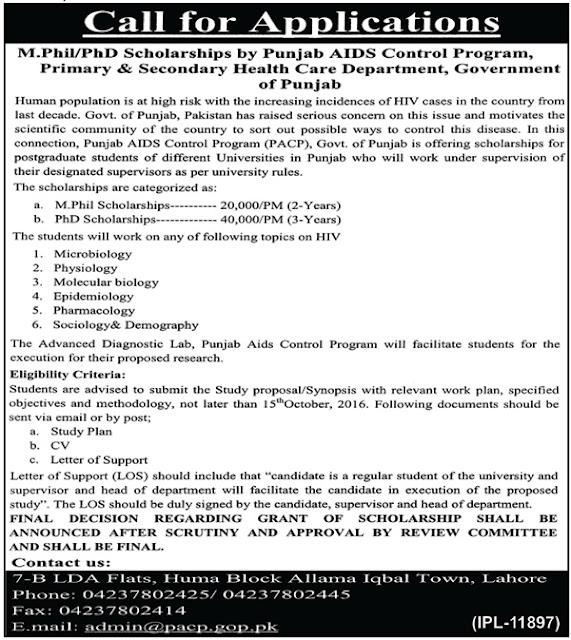 MS & PHD Scholarships Punjab AIDS control Program