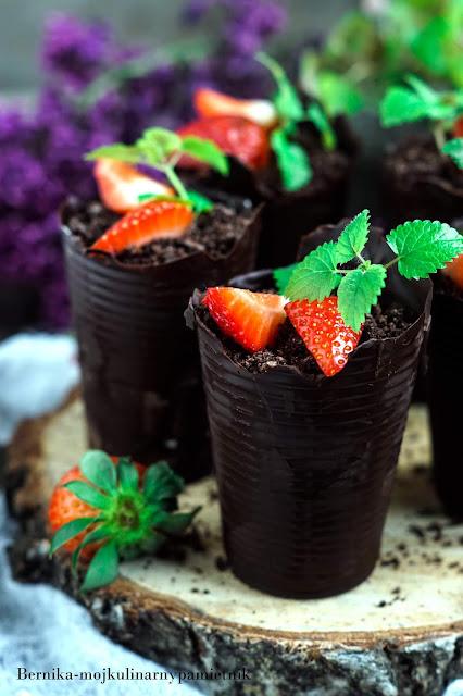 czekolada, doniczki, truskawki, maliny, deser, oreo, bernika, ciasto, kulinarny pamietnik