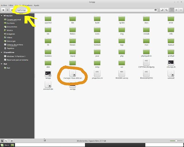 Carpeta de ubicación de Xampp para Linux