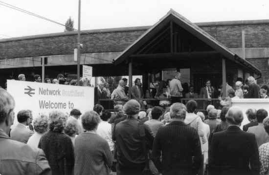 Photograph of Welham Green station opening, Monday 29 September 1986. Image by Ron Kingdon
