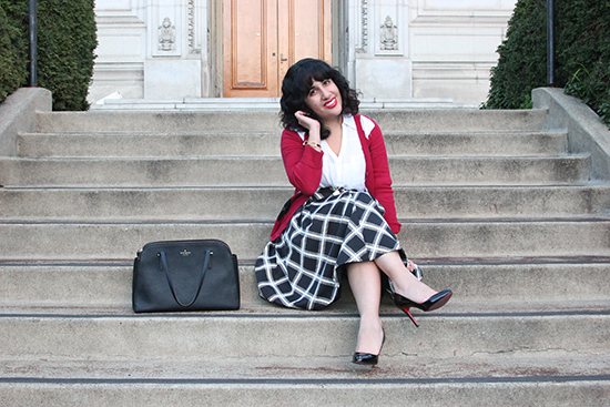 Merona Red Cardigan and Express Black and White Print Midi Skirt Office Outfit