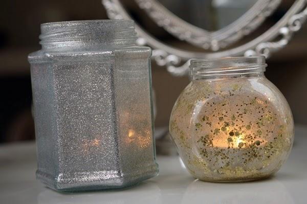 DIY waxinelicht houder met glitter