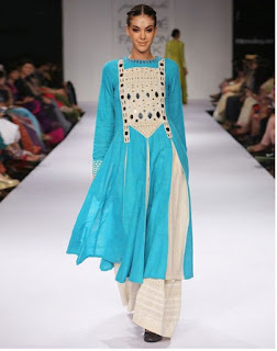 Lakme Fashion Week Blue Top With Diamond Work And Palazzo Style Bottom