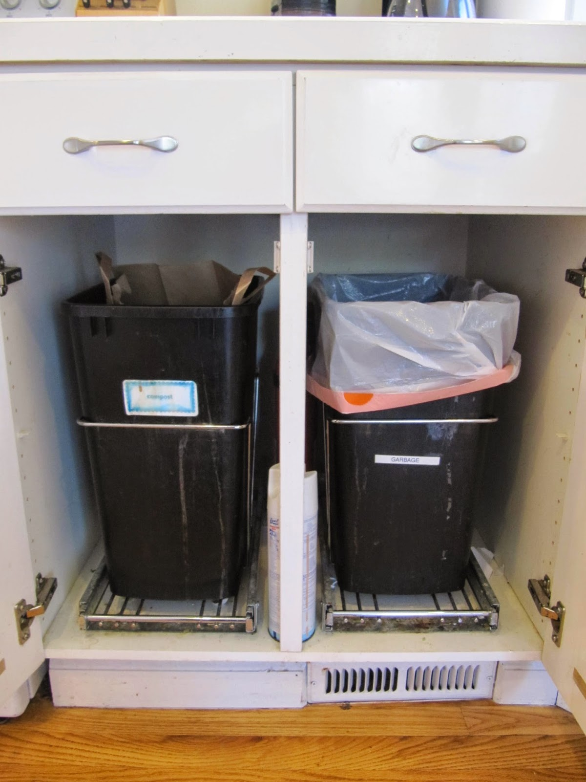 We Use The Cupboard Under Our Sink For Storing Dish Washing Supplies And Housing A Large Laundry Basket To Collect Recycling