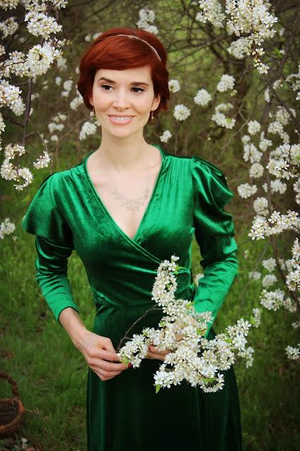 694453682c Shopping Info  Puff Sleeve Belted Wrap Split Velvet Dress- 22 from  SheIn  Similary 50s Tie Neck Puff Sleeve Velvet Dress