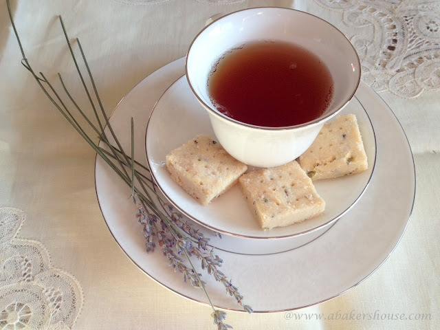 lavender shortbread with a cup of tea