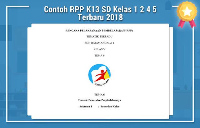 Contoh RPP K13 SD Kelas 1 2 4 5 Terbaru 2018