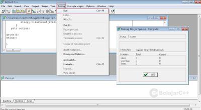 menjalankan program - Pengertian dan Dasar-Dasar Penggunaan Borland C++ - belajar c++