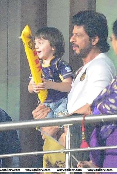 We spotted actor Shah Rukh Khan and his son AbRam Khan during an IPL match between Kolkata Knight Riders and Kings XI Punjab at Eden Gardens in Kolkata