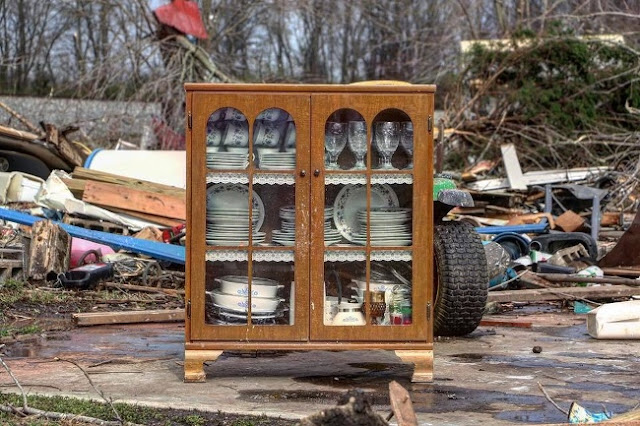 A tornado broke everything except this cabinet