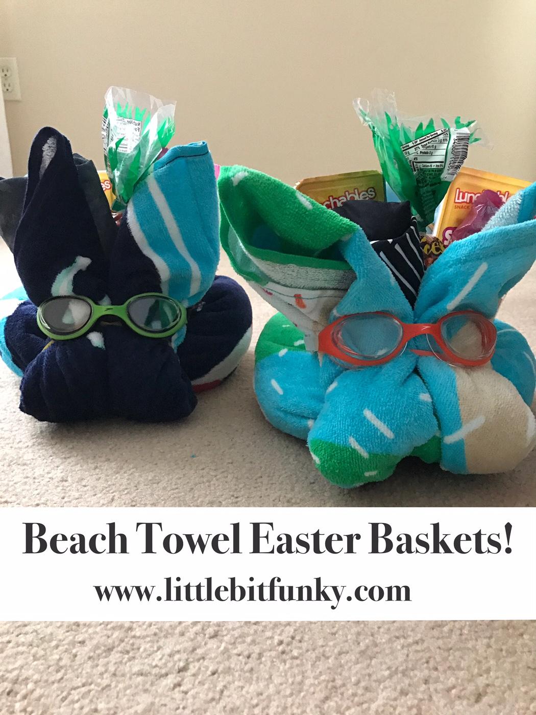 Little bit funky beach towel easter baskets beach towel easter baskets hey friends negle Image collections
