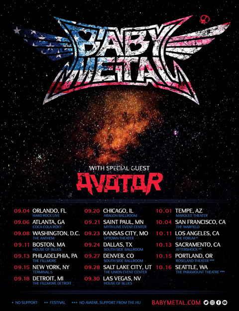 BABYMETAL US TOUR 2019 di Musim Gugur