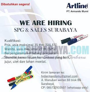 We Are Hiring di PT. Armando Murni (Artline) Surabaya Terbaru April 2019