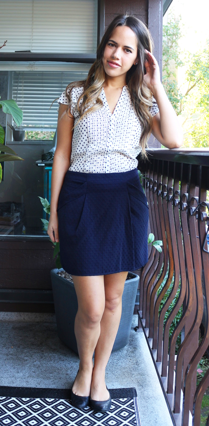 Jules in Flats September Outift H&M Polka Dot Blouse, Forever 21 Skirt, Vince Camuto Flats